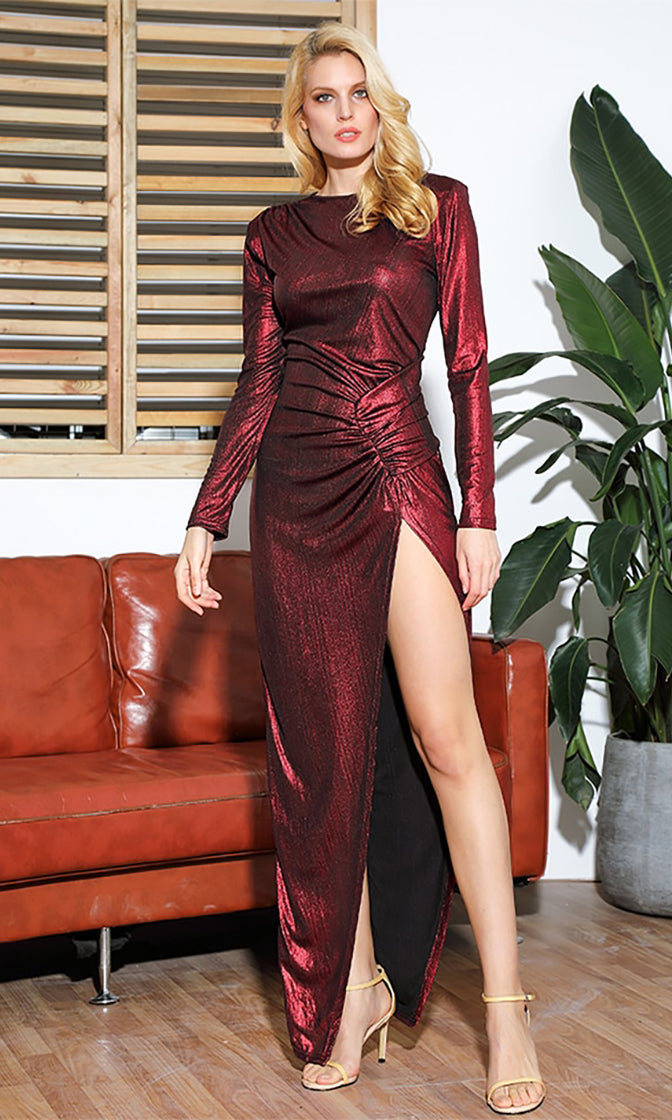 It's Never Enough Burgundy Metallic Long Sleeve Round Neck Ruched Keyhole Back Side Slit Maxi Dress