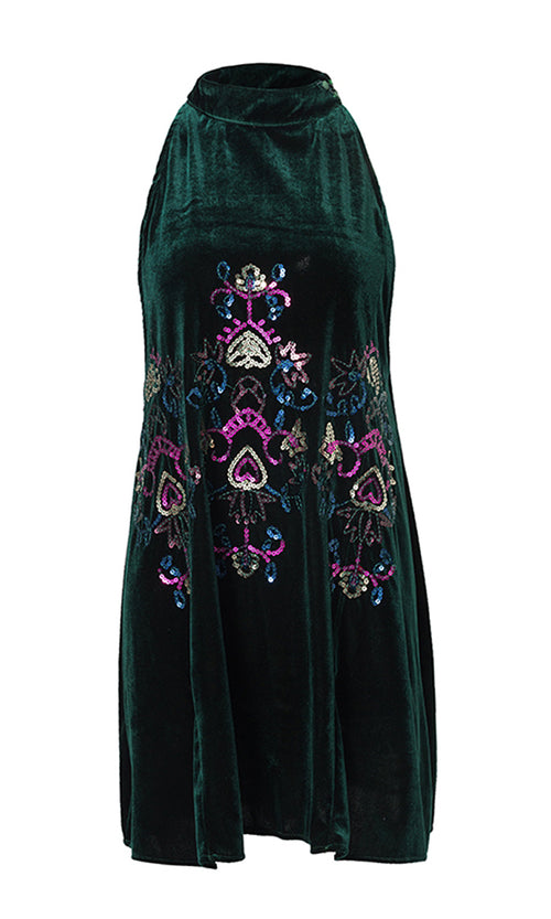 In A Pinch Green Velvet Sequin Embroidery Floral Pattern Sleeveless Halter Mock Neck Mini Dress