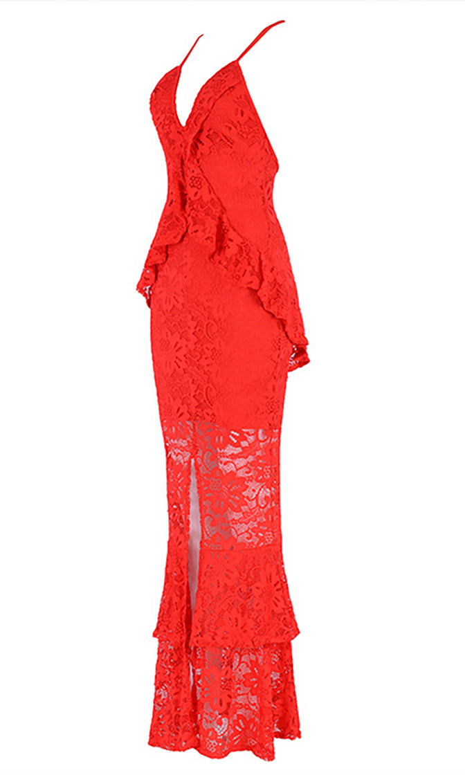 Fabulous Flirt Lace Sleeveless Spaghetti Strap V Neck Ruffle Front Slit Fit And Flare Maxi Dress - 4 Colors Available