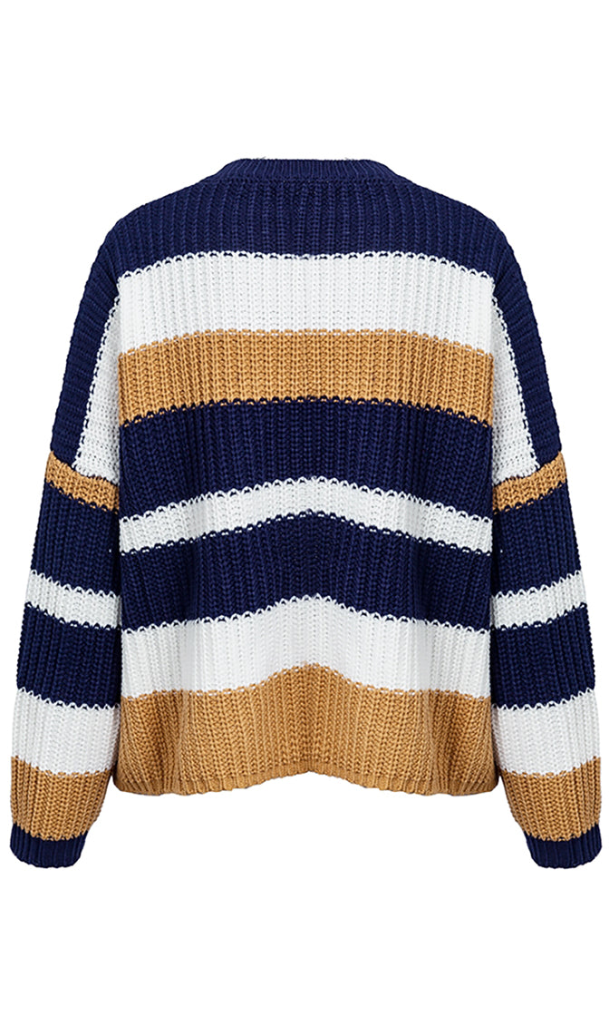 Weekend Warmup Horizontal Stripe Pattern Long Sleeve Crew Neck Loose Pullover Sweater - 4 Colors Available