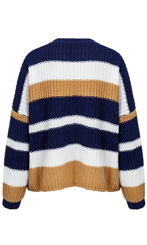 Weekend Warmup Horizontal Stripe Pattern Long Sleeve Crew Neck Loose Pullover Sweater - Sold Out