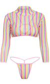 Like A Rainbow Fishnet Mesh Triangle Top G String Crop Top Coverup Three Piece Bikini Swimsuit Set - 2 Colors Available