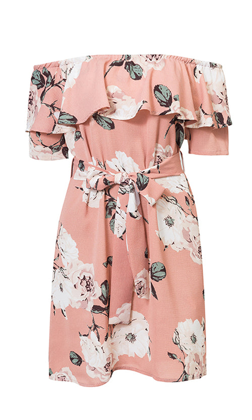 Strolling In Sunshine Pink Floral Pattern Short Sleeve Off The Shoulder Ruffle Casual Mini Dress