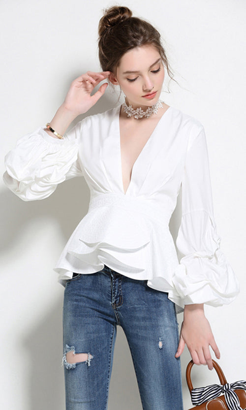 Good Taste Long Ruched Sleeve Ruffle Plunge V Neck Peplum Blouse Top - 3  Colors Available