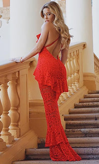Fabulous Flirt Lace Sleeveless Spaghetti Strap V Neck Ruffle Front Slit Fit And Flare Maxi Dress - 4 Colors Available - Sold Out