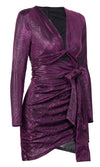 Hollywood Hit Purple Reflective Long Sleeve V Neck Cut Out Sash Waist Bodycon Mini Dress - Sold Out