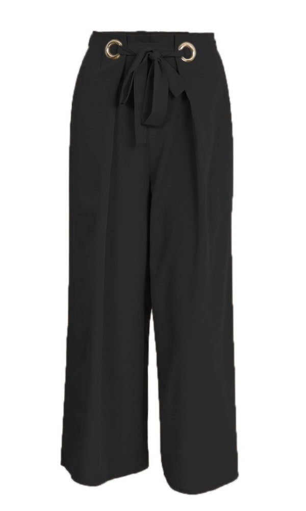 Get On Up Grommet Tie Belt Elastic Waist Cropped Palazzo Wide Leg Loose Pants - 3 Colors Available