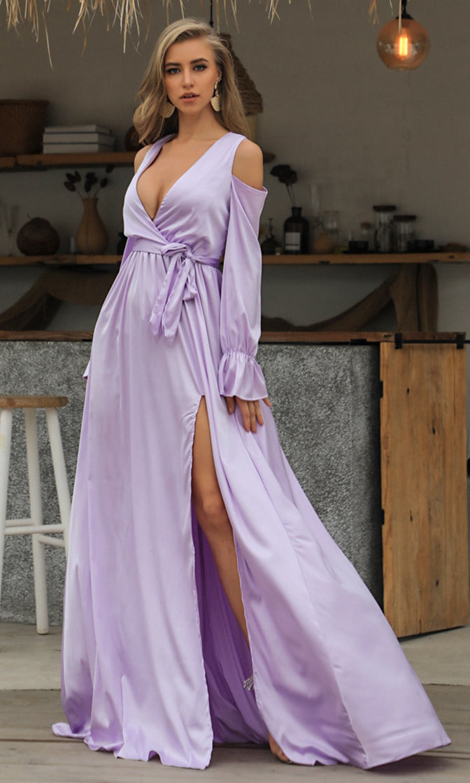 Sending My Love Purple Long Sleeve Cold Shoulder Cross Wrap V Neck Side Slit Maxi Dress