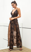 Love Is Blind Black Sequin Floral Pattern Sleeveless Spaghetti Strap V Neck Double Slit Maxi Dress - Sold Out