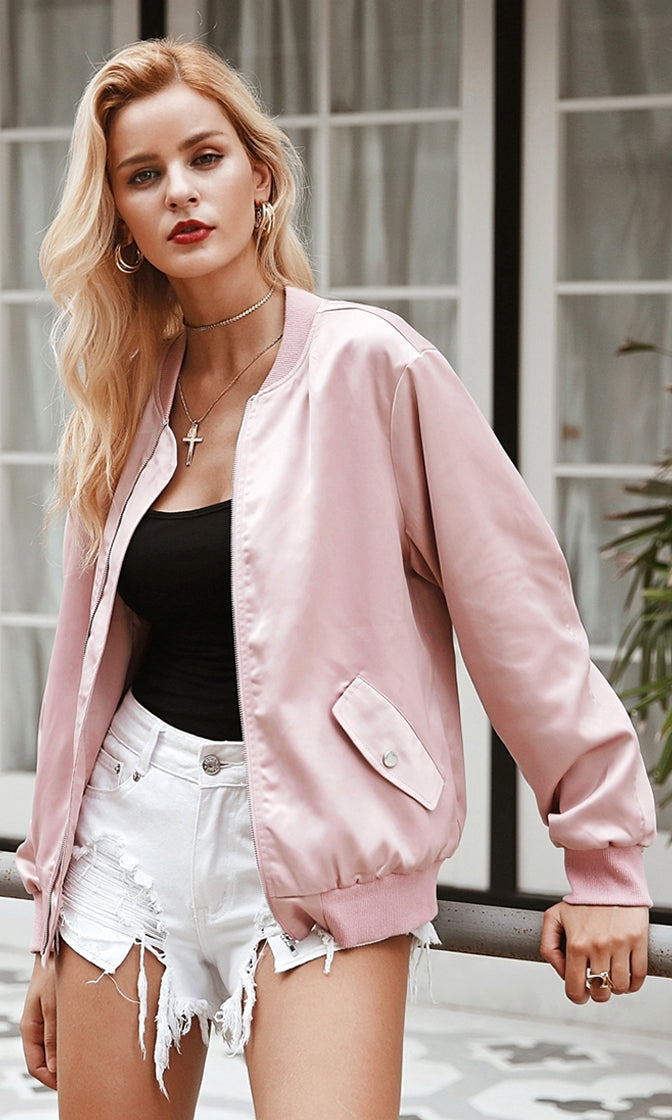 All Girl Pink Satin Long Sleeve Zip Front Lace Up Bow Back Bomber Jacket Outerwear