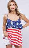 Fireworks Display Red White Blue Stripe Star Pattern American Flag Sleeveless Spaghetti Strap Scoop Neck Loose Tank Top - Sold Out