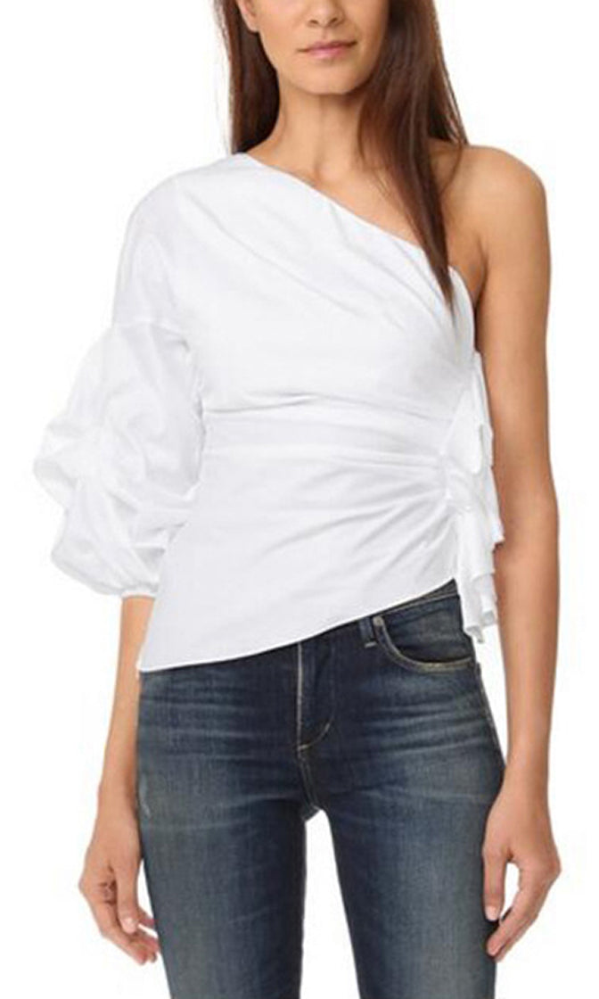 Safe And Sound 3/4 Sleeve One Shoulder Ruched Ruffle Blouse Top - 2 Colors Available