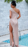 Sheer Drama Gold Sleeveless One Shoulder High Slit Casual Maxi Dress - Sold Out