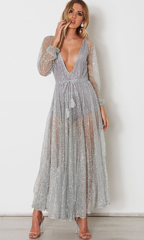 Get Up And Glimmer Sheer Mesh Glitter Long Sleeve Plunge V Neck Maxi Dress - 2 Colors Available