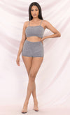 Close To You Medium Gray Sleeveless Spaghetti Strap Scoop Neck Sweater Chenille Lounge Crop Two Piece Romper Playsuit
