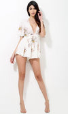 My Wild Heart White Pink Yellow Black Floral Short Sleeve Plunge V Neck Tie Waist Short Romper Playsuit - Sold Out