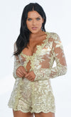 Indie XO Free From You Gold Sheer Mesh Lace Long Sleeve Plunge V Neck Outerwear Jacket Scalloped Shorts Two Piece Set Romper - Sold Out