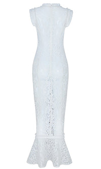 This Is Real White Lace Sleeveless Round Neck Tassel Trim Mermaid Hem Bodycon Maxi Dress - Sold Out