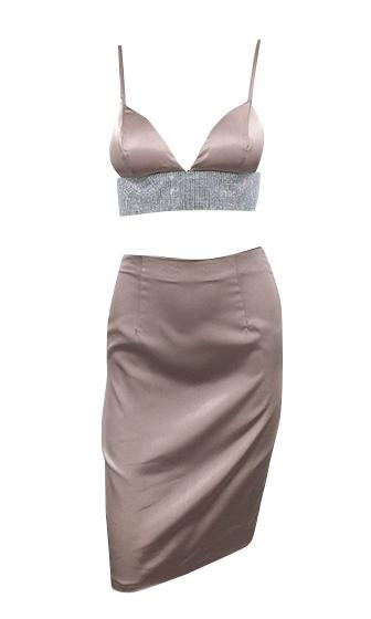 Mirror Mirror Satin Crystal AB Rhinestones Sleeveless Spaghetti Strap V Neck Crop Top Two Piece Bodycon Midi Dress - 3 Colors Available