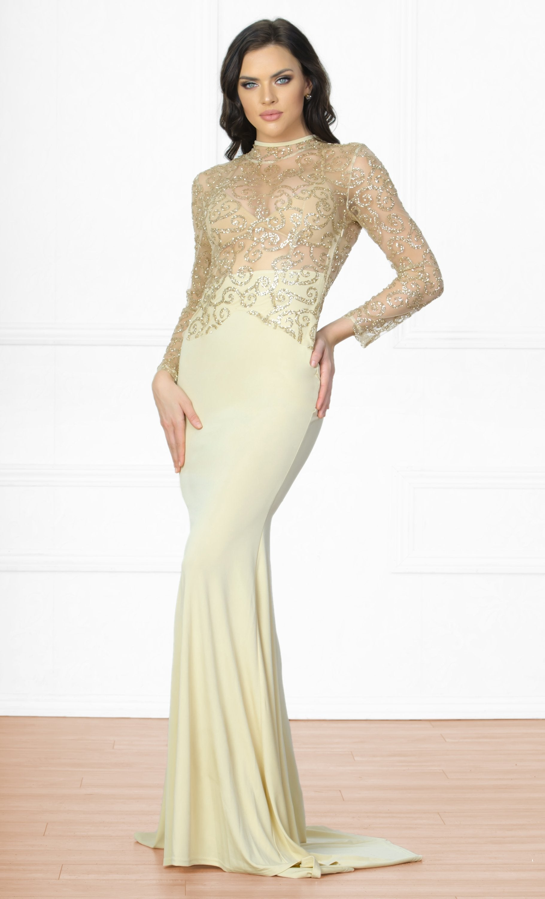 Indie XO Icon Status Nude Gold Long Sleeve Sheer Glitter Mock Neck Cut Out Back Maxi Dress Evening Gown