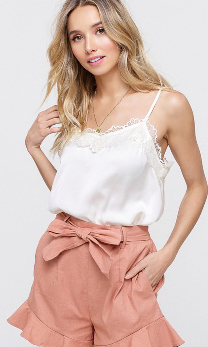 Be My Love Silky Satin Lace Trim Sleeveless Spaghetti Strap Camisole Slip Tank Top - 5 Colors Available (Pre-order)