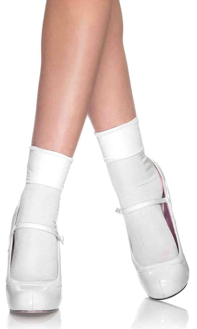 Let's Talk White Nylon Cuff Anklet Socks