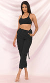 Bust A Move Candy Pink Two Piece Cargo Pants Crop Open Tie Back Top Jumpsuit Set