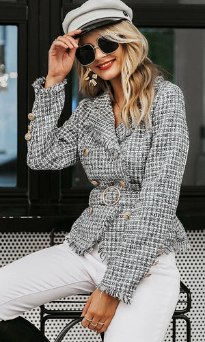 Living In The City Tweed Plaid Pattern Frayed Edge Long Sleeve Double Breasted Button Belt Blazer Jacket Outerwear - 2 Colors Available