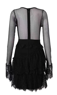 Queen Of The Hour Black Sheer Mesh Dot Long Sleeve Lace Tiered Ruffle Bandage Mini Dress - Sold Out