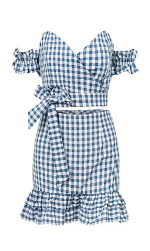 American Woman Blue White Gingham Plaid Pattern Short Sleeve Off The Shoulder Cross Wrap V Neck Crop Top Bodycon Ruffle Two Piece Casual Mini Dress