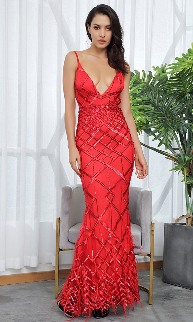 9a9258b1a95ce All Dressed Up Red Sequin Geometric Pattern Sleeveless Spaghetti Straps V  Neck Backless Feather Trumpet Maxi