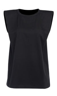 Strong And Stylish Black Solid Classic Basic Shoulder Pad Muscle Tee Round Scoop Neck Tee Shirt Sleeveless Top