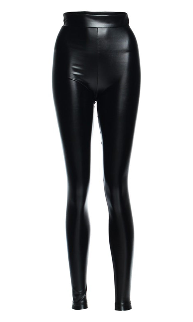 All Night Thing Black PU Faux Leather Elastic Waist Skinny Leggings