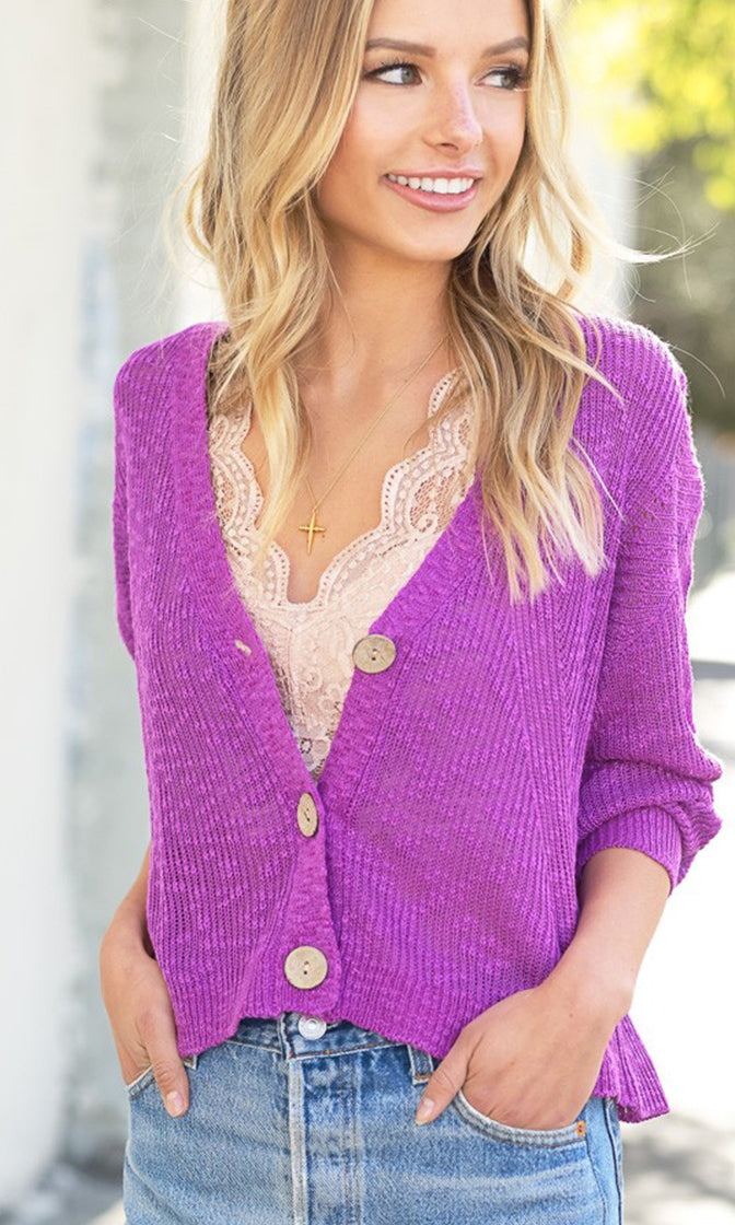 Is It Spring Yet Button Up Cropped Dolman Style Long Sleeve Cardigan Sweater - 6 Colors Available