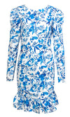 Hopelessly In Love Blue White Floral Pattern Long Sleeve Puff Shoulder Round Neck Cut Out Back Ruffle Bodycon Mini Dress - Sold Out