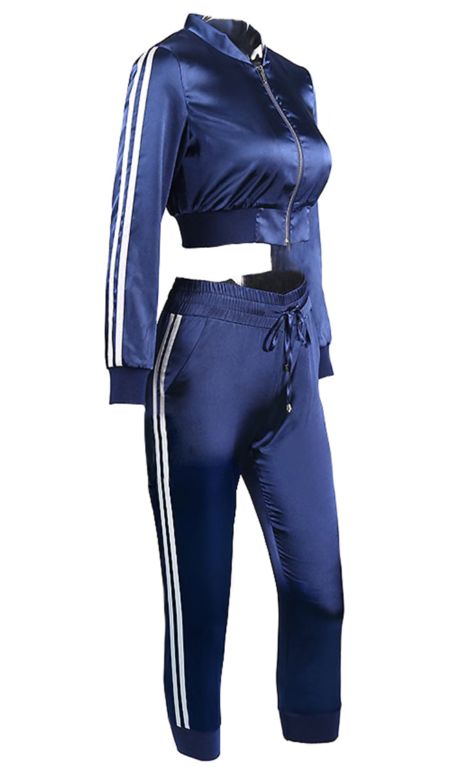 Tracking Your Moves Satin Long Sleeve Double Strip Zip Crop Track Jacket Cropped Pant Two Piece Jumpsuit Set - 2 Colors Available