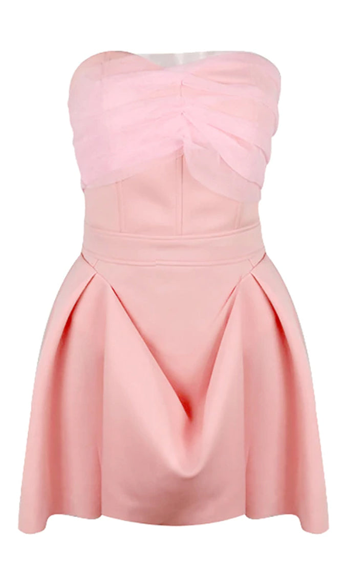 Petal Perfection Pink Strapless Mesh Pleat Flared A Line Mini Dress