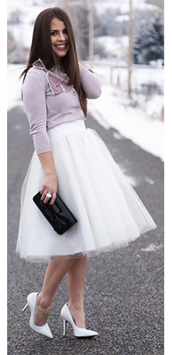 Center Stage 8 Layer White Tulle Chiffon Elastic Waist Pleated Circle A Line Flare Midi Skirt