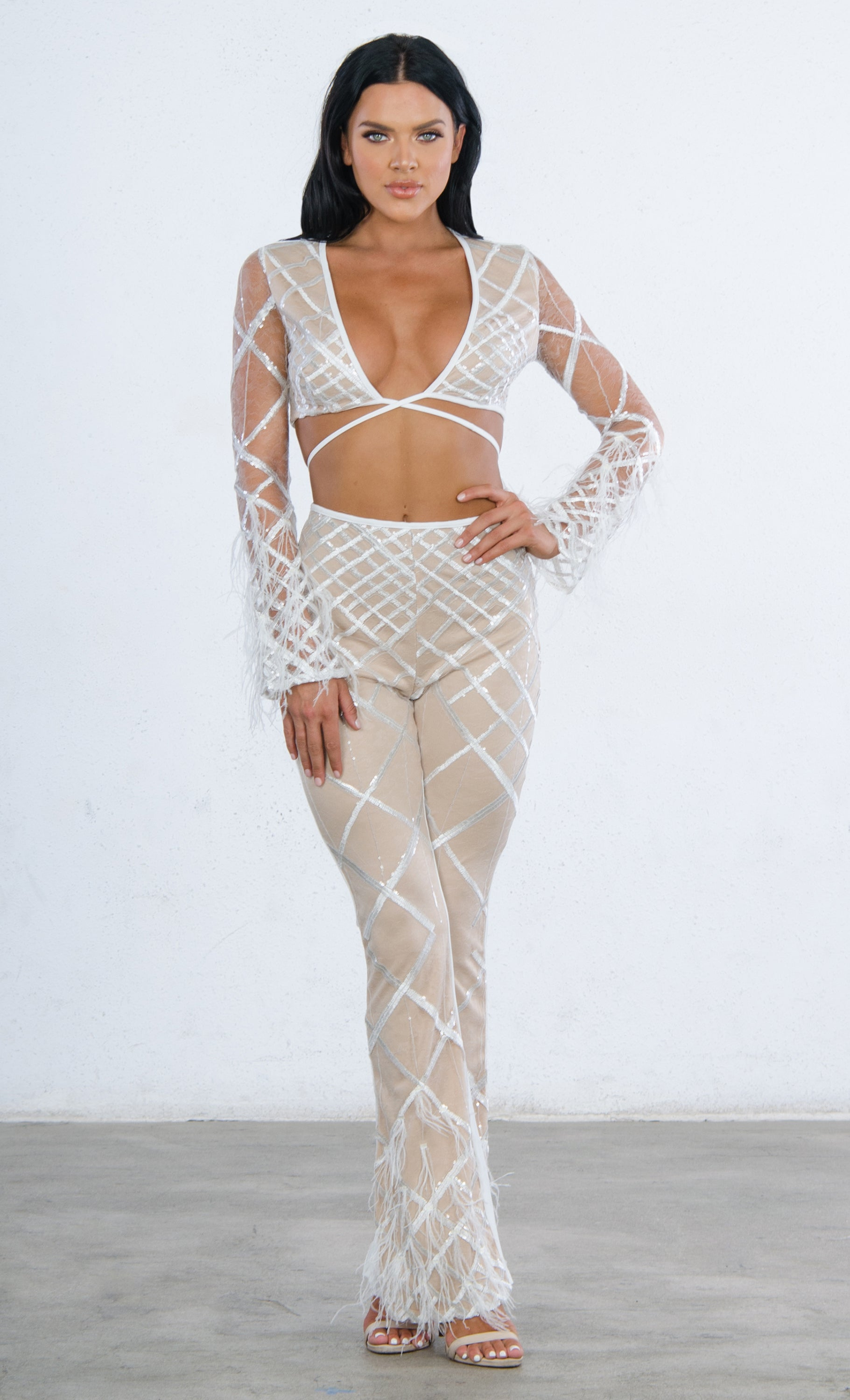 9bb2967be5 Indie XO No Rules White Sheer Mesh Feather Long Sleeve Diamond Geometric  Pattern V Neck Crop