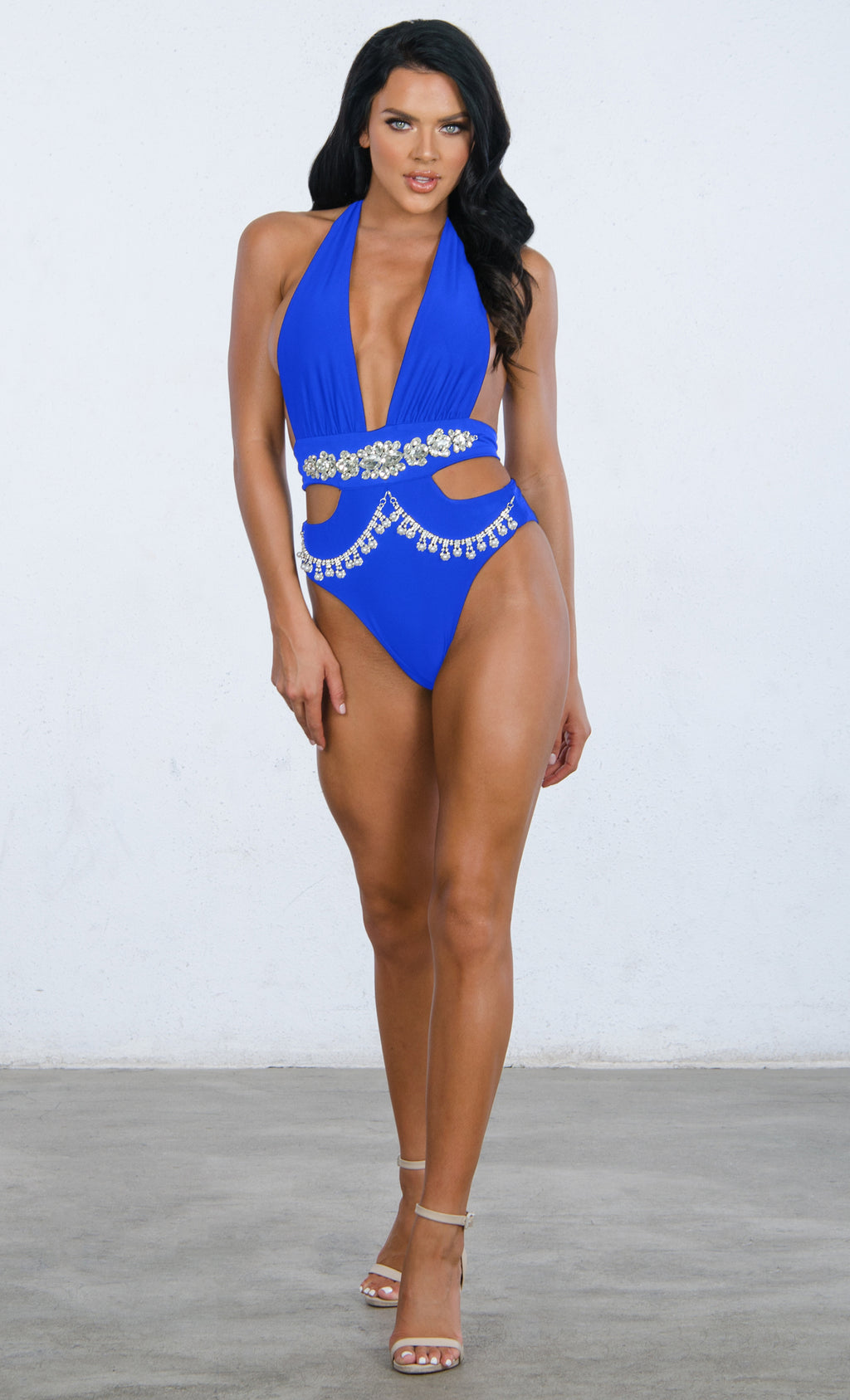 Indie XO Shake It Off Royal Blue Rhinestone Beaded Bling Crystal Chain Cut Out Gemstone Plunge V Neck Monokini One Piece Swimsuit - 3 Colors Available