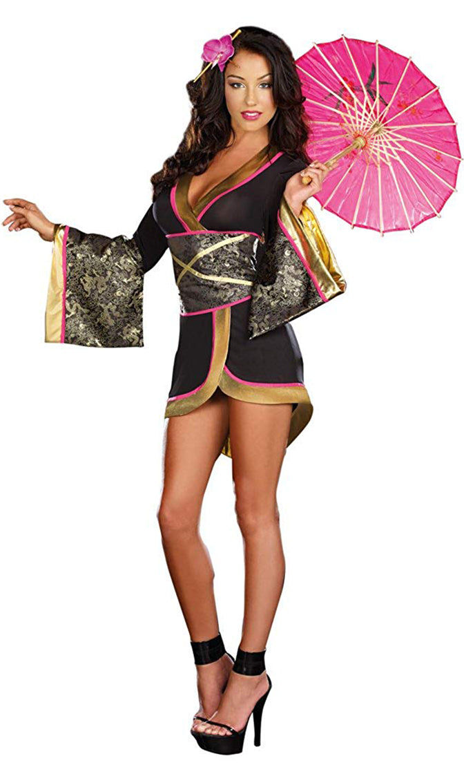 Geisha Girl Black Gold Pink Dragon Pattern Long Kimono Sleeve V Neck Wrap Mini Dress Costume