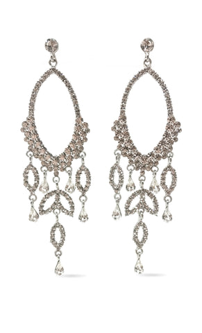 Indie XO Taj Mahal Gold Plated Swarovski Crystal Rhinestone Fringe Chandelier Earrings