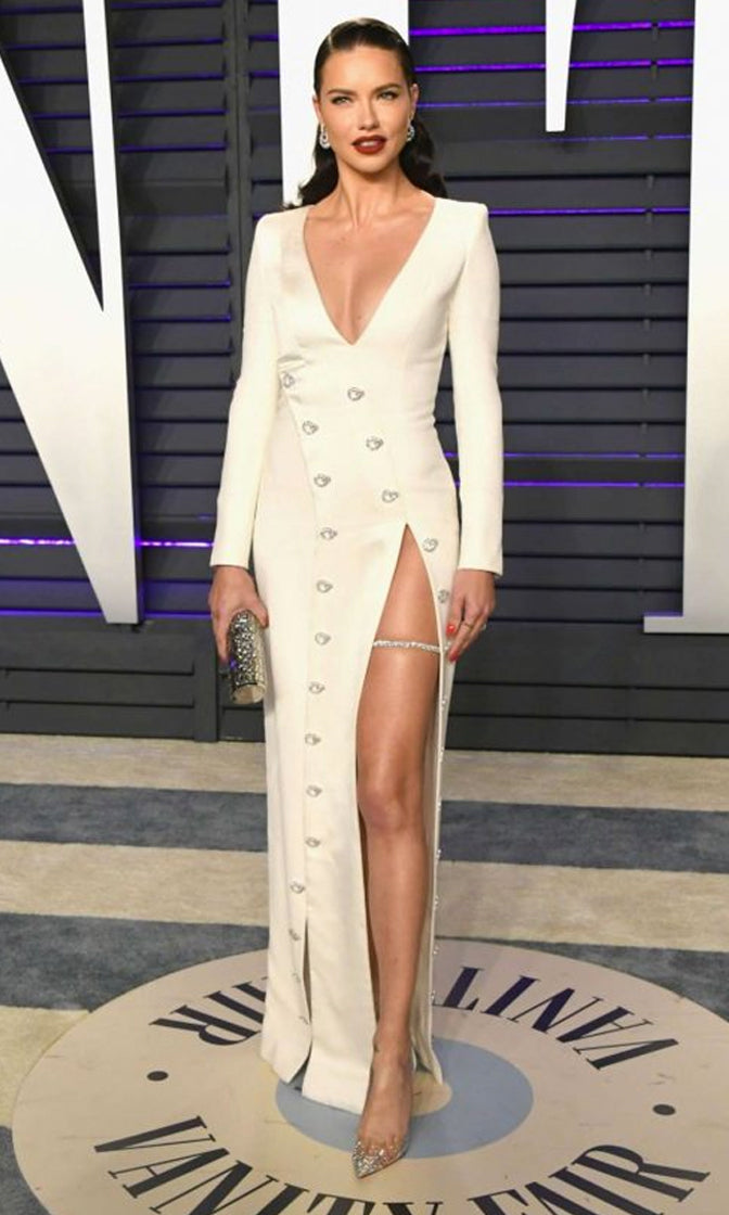 Stealing The Scene White Long Sleeve Rhinestone Button V Neck High Slit Bodycon Bandage Maxi Dress