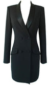 It's Tempting Long Sleeve Satin Lapel V Neck Button Bodycon Blazer Jacket Mini Tuxedo Dress
