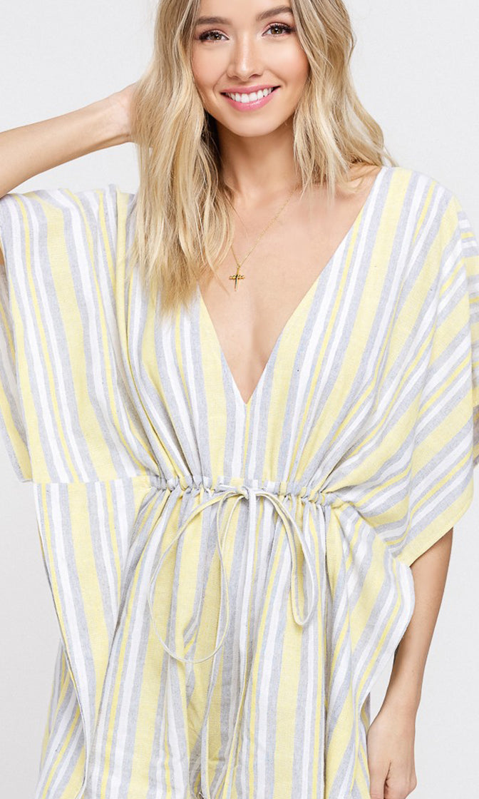 Lemonade Fizz Yellow Gray White Striped Pattern Waist Tie Short Sleeve Loose Casual Romper