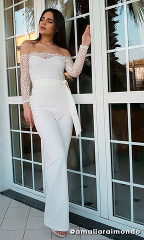 Indie XO Heavenly Bodies White Sheer Mesh Long Sleeve Off the Shoulder Stretch Flare Train Leg Jumpsuit - Inspired by Kendall Jenner Met Gala 2018