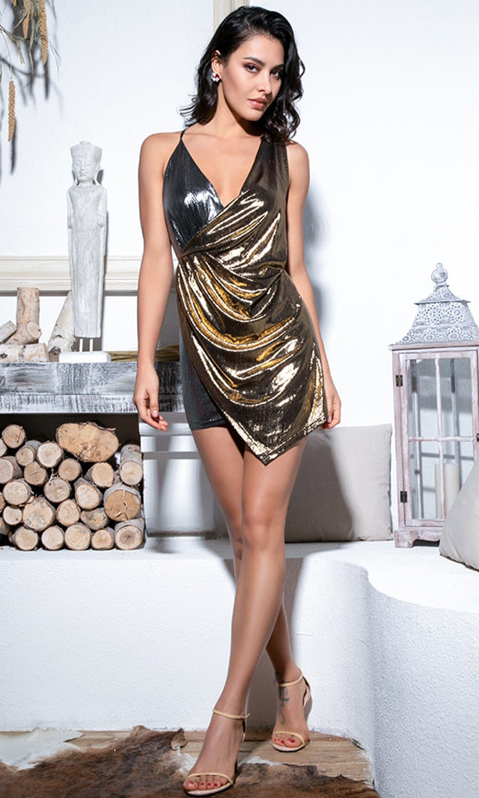 Midnight Hour Gold Silver Contrast Color block Metallic Sleeveless Spaghetti Strap Cross Wrap V Neck Ruched Asymmetric Mini Dress