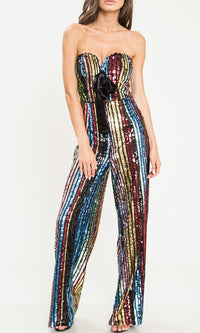 Pop The Cork Multicolor Sequin Vertical Stripe Pattern Strapless Sweetheart Neck Bow Wide Leg Loose Jumpsuit - Sold Out