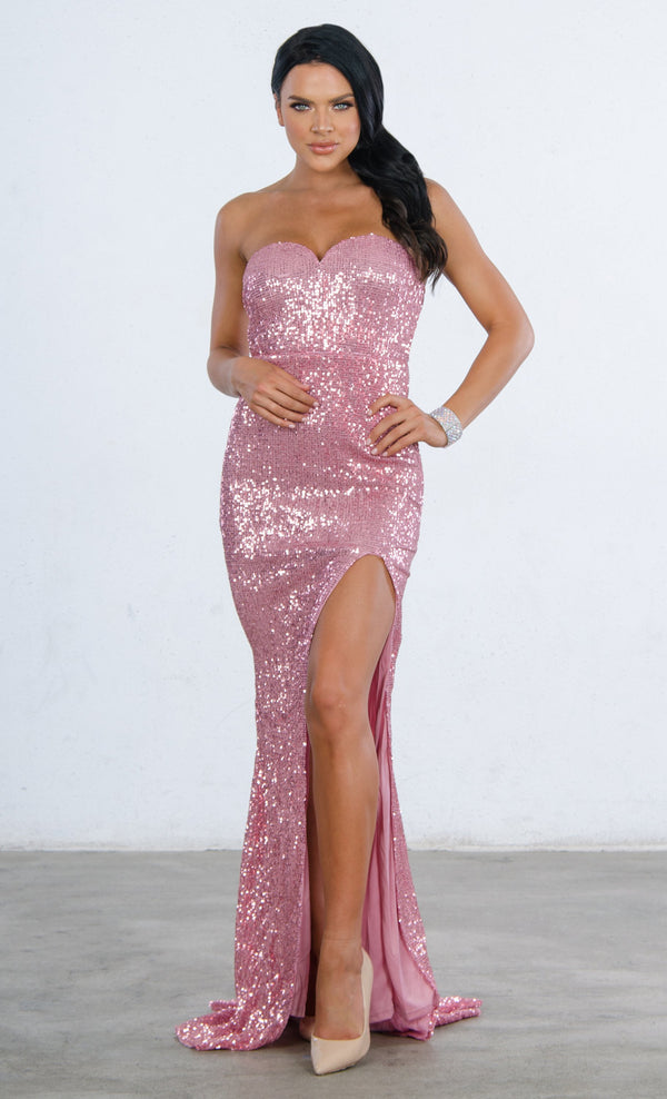 d4896cc702a3 Indie XO Ambitious Dream Pink Sequin Strapless Sweetheart Neck High Slit  Fishtail Maxi Dress