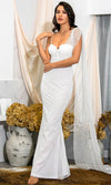 A Moment In Time White Satin Short Sleeve Off The Shoulder Ruched Side Split Train Maxi Dress